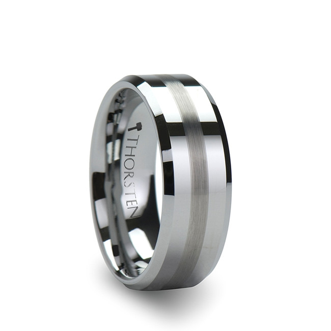 Byblis Beveled Tungsten Carbide Ring with Brushed Stripe from Vansweden Jewelers