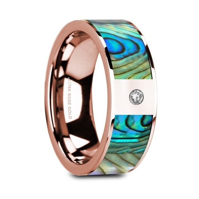 Machaon Flat Polished 14K Rose Gold Ring with Mother of Pearl Inlay & White Diamond from Vansweden Jewelers