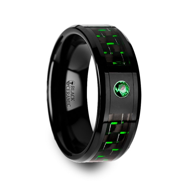 Iphidamas Black Ceramic Ring with Black and Green Carbon Fiber and Green Emerald from Vansweden Jewelers