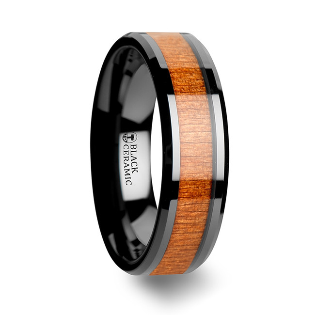 Aedon Black Ceramic Wedding Ring with Polished Bevels and Black Cherry Wood Inlay from Vansweden Jewelers