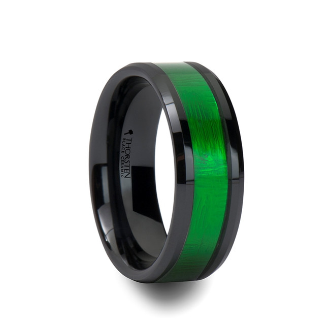 Apheidas Black Ceramic Ring with Textured Green Inlay and Beveled Edges from Vansweden Jewelers