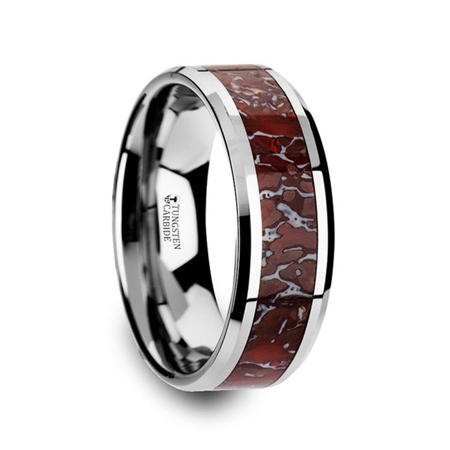 Icarus Red Dinosaur Bone Inlaid Tungsten Carbide Beveled Edged Ring from Vansweden Jewelers