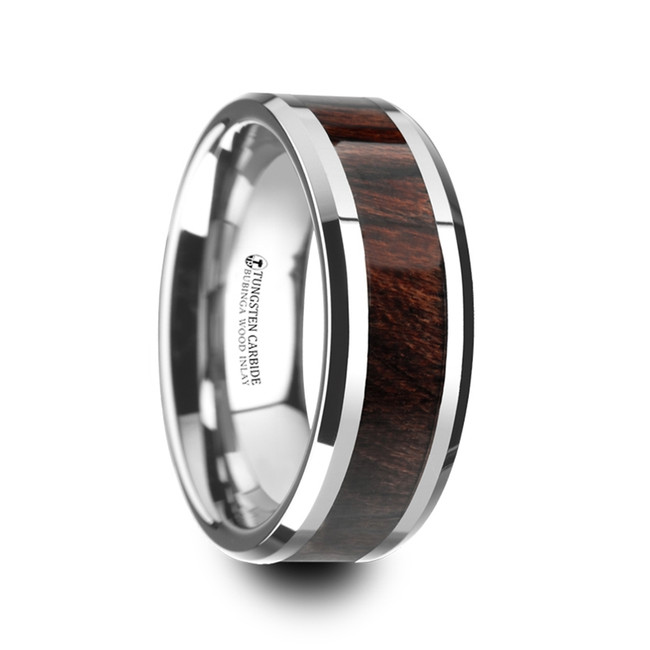 Caletor Bubinga Wood Inlaid Tungsten Carbide Ring with Bevels from Vansweden Jewelers