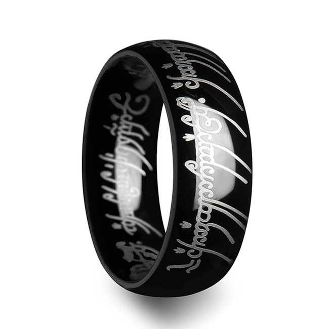 Nemesis Lord of the Rings Black Tungsten Ring The One Engraved Sauron's Band from Vansweden Jewelers