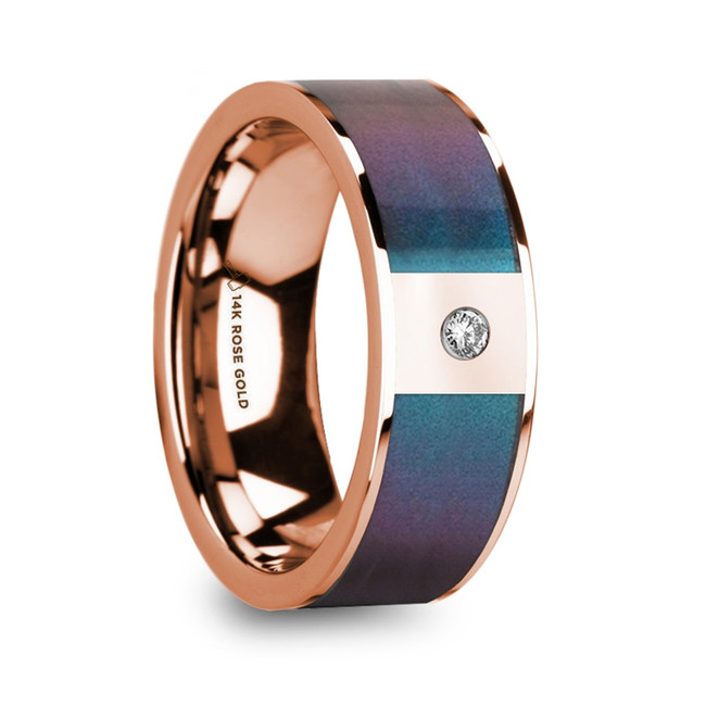Crete 14K Polished Rose Gold Wedding Ring with Blue & Purple Color Changing Inlay and Diamond from Vansweden Jewelers