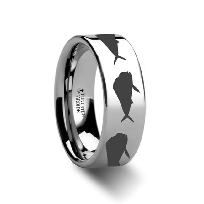 Calesius Fish Pattern Engraved Flat Tungsten Ring from Vansweden Jewelers