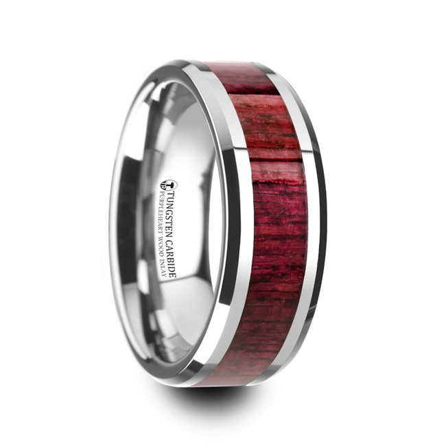 Dolops Purpleheart Wood Inlaid Tungsten Carbide Ring with Bevels from Vansweden Jewelers