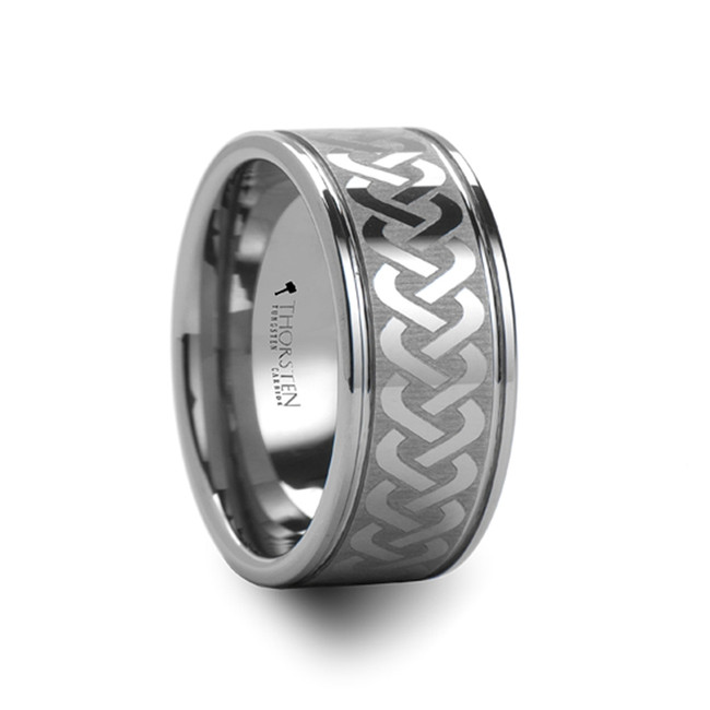Paris Celtic Knot Laser Engraved Tungsten Carbide Ring Wide from Vansweden Jewelers