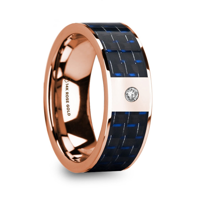 Butes Diamond Center 14k Rose Gold Men's Wedding Ring with Blue & Black Carbon Fiber Inlay from Vansweden Jewelers
