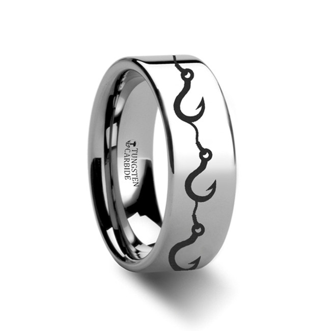 Callidice Fishing Hook Pattern Engraved Flat Tungsten Ring from Vansweden Jewelers