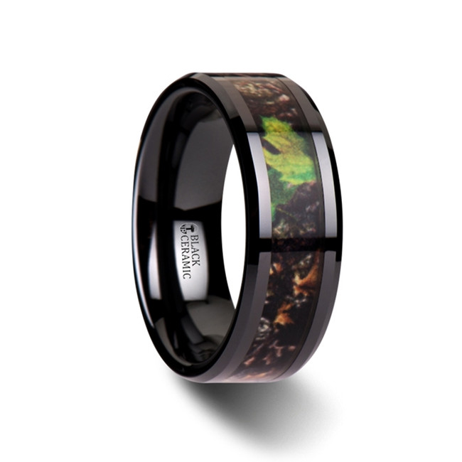 Memphis Realistic Tree Camo Black Ceramic Wedding Band with Green Leaves from Vansweden Jewelers
