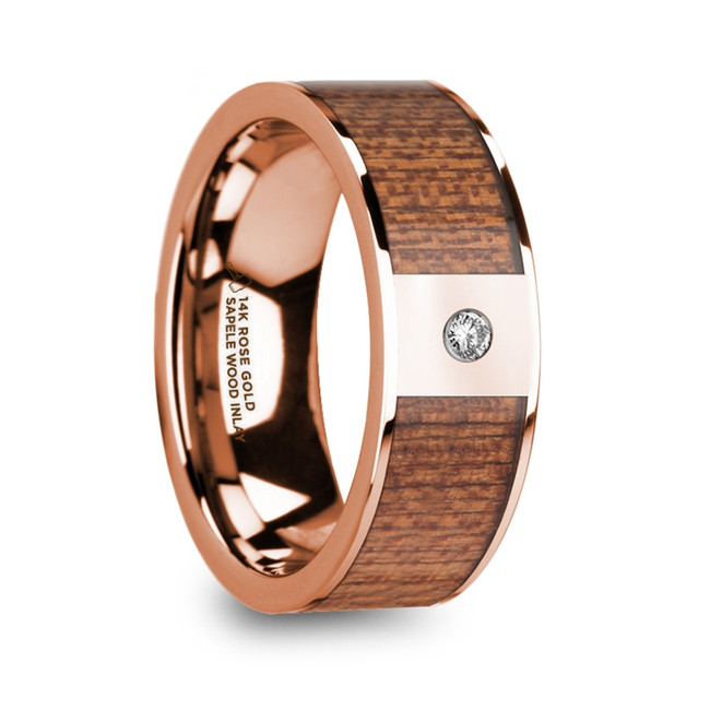 Erythras Sapele Wood Inlaid Polished 14k Rose Gold Men's Wedding Ring with Diamond Center from Vansweden Jewelers
