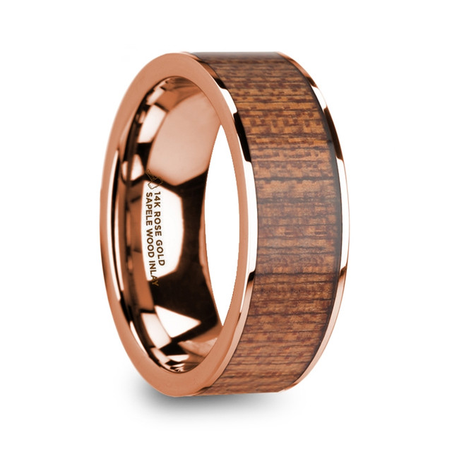 Stratonice Men's 14k Rose Gold Wedding Band with Sapele Wood Inlay & Polished Finish from Vansweden Jewelers