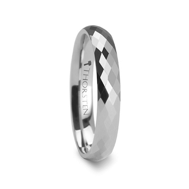 Polydorus 288 Diamond Faceted White Tungsten Carbide Ring from Vansweden Jewelers