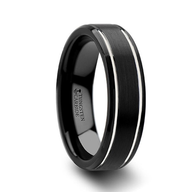 Epochus Beveled Black Tungsten Carbide Band with Brushed Finish and Polished Grooves from Vansweden Jewelers