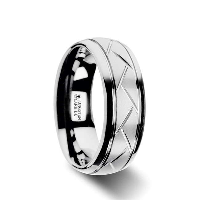 Broteas Domed Tungsten Carbide Ring with Crisscross Grooves and Brushed Finish from Vansweden Jewelers