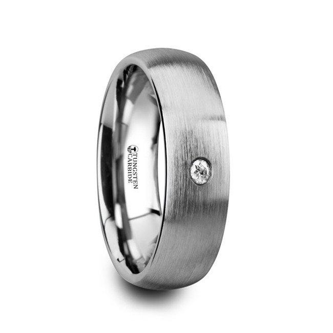 Euphorion Brushed and Domed Tungsten Carbide Wedding Ring with White Diamond from Vansweden Jewelers