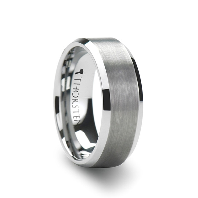 Strophius White Tungsten Carbide Ring with Brushed Center and Beveled Edges from Vansweden Jewelers