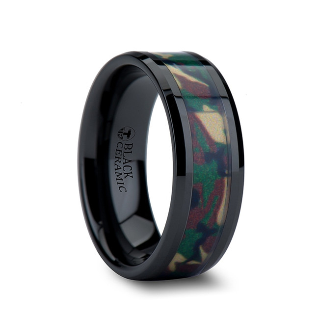 Zeus Beveled Black Ceramic Wedding Ring with Real Military Style Jungle Camo from Vansweden Jewelers