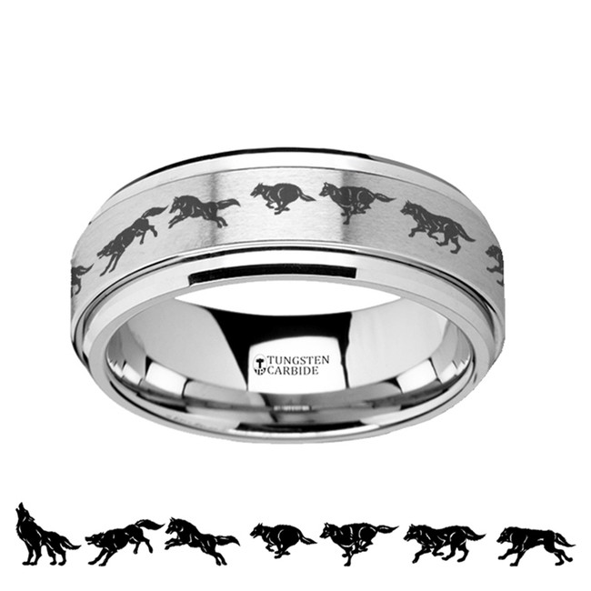 Astraeus Spinning Engraved Running Wolf Tungsten Carbide Spinner Wedding Band from Vansweden Jewelers