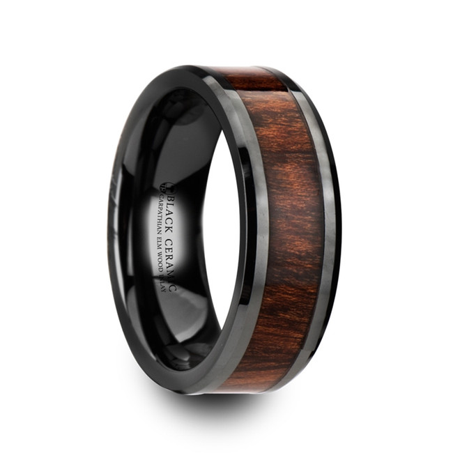 Helios Carpathian Wood Inlaid Black Ceramic Ring with Bevels from Vansweden Jewelers