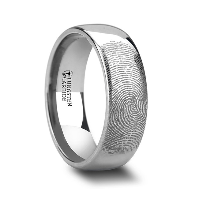 Amphiaraus Fingerprint Engraved Domed Tungsten Ring from Vansweden Jewelers