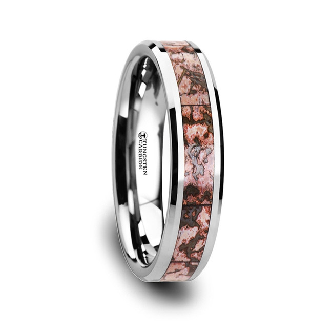 Asbolus Pink Dinosaur Bone Inlaid Tungsten Carbide Beveled Edged Ring from Vansweden Jewelers