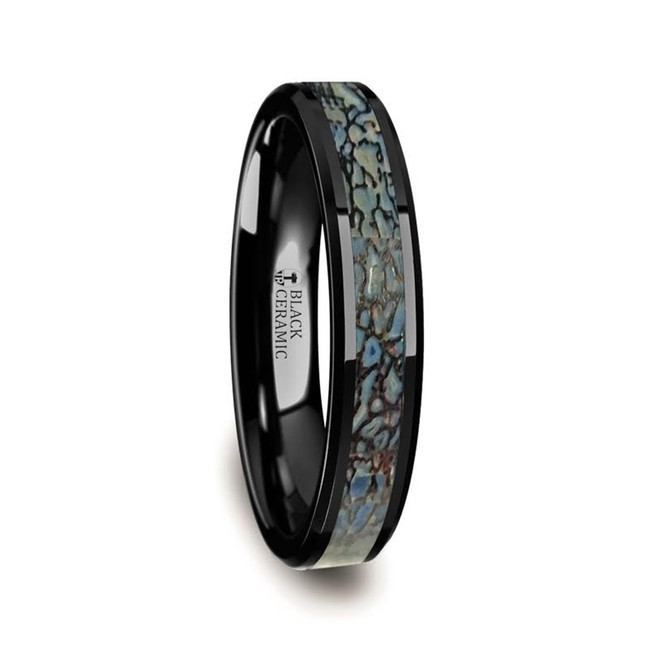 Alcestis Blue Dinosaur Bone Inlaid Black Ceramic Beveled Edged Ring from Vansweden Jewelers