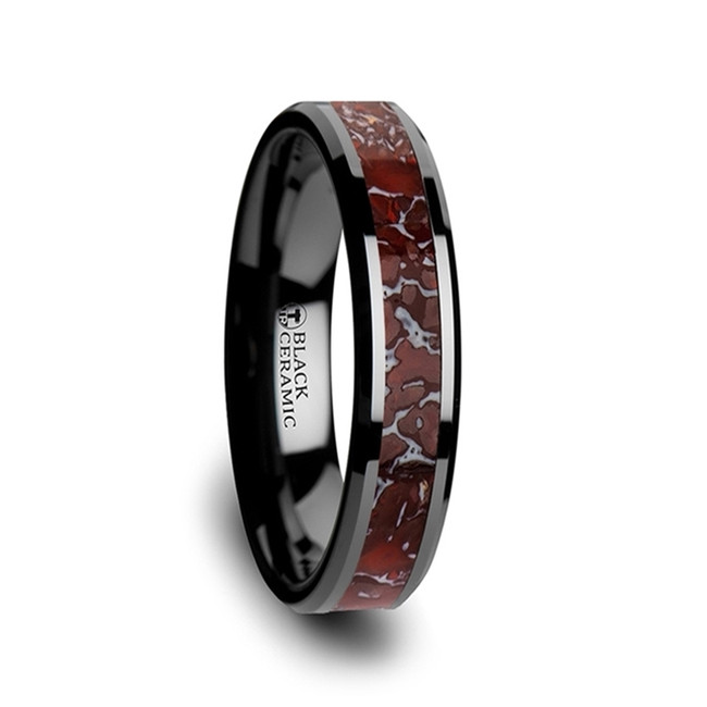 Polyxena Red Dinosaur Bone Inlaid Black Ceramic Beveled Edged Ring from Vansweden Jewelers