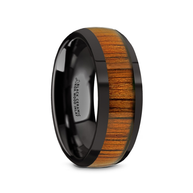 Briareus Black Ceramic Men's Domed Wedding Band with Koa Wood Inlay from Vansweden Jewelers