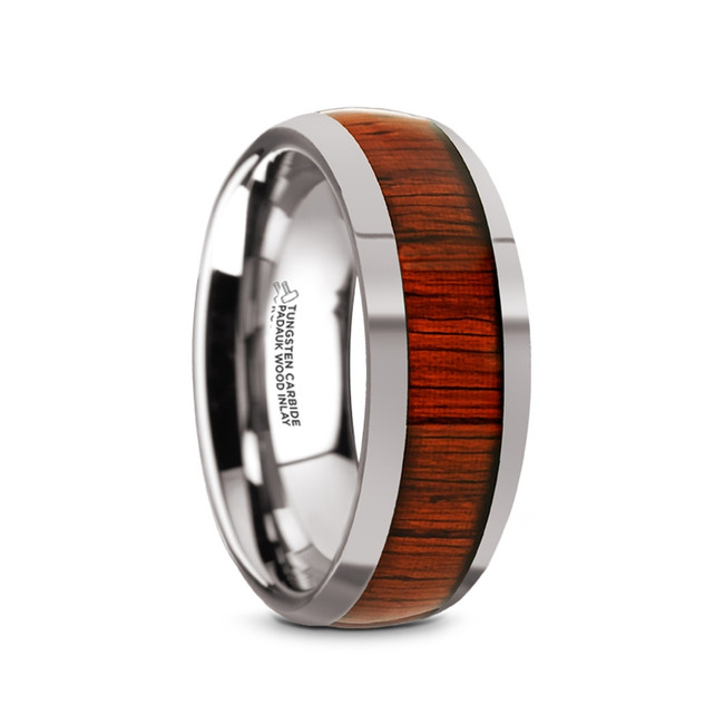 Charon Tungsten Carbide Men's Domed Wedding Band with Padauk Wood Inlay from Vansweden Jewelers