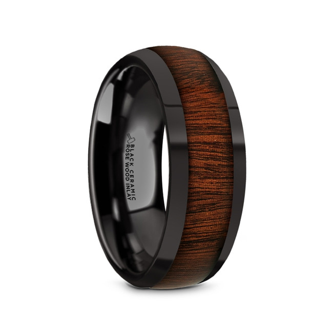 Erebos Black Ceramic Domed Men's Wedding Band with Rose Wood Inlay from Vansweden Jewelers