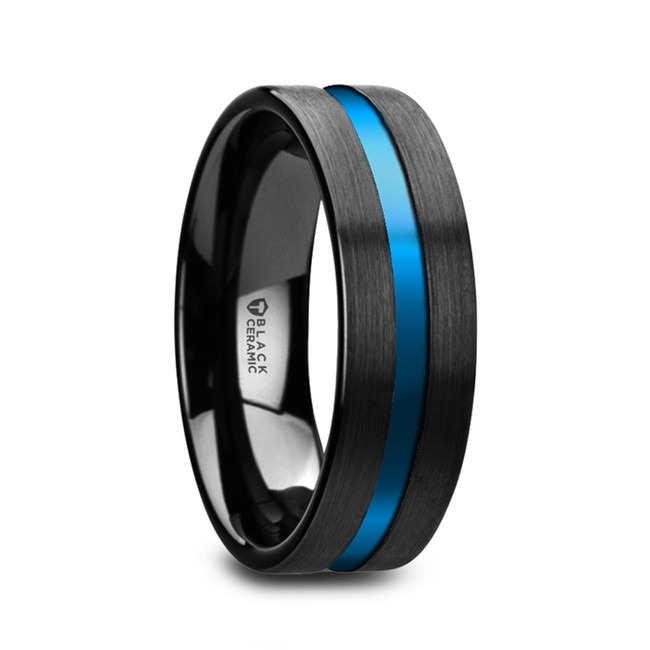 Glaucus Flat Brushed Black Ceramic Men's Wedding Ring with Blue Grooved Center from Vansweden Jewelers