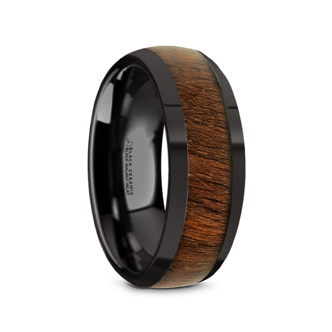 Stheno Black Ceramic Men's Domed Wedding Band with Black Walnut Inlay from Vansweden Jewelers