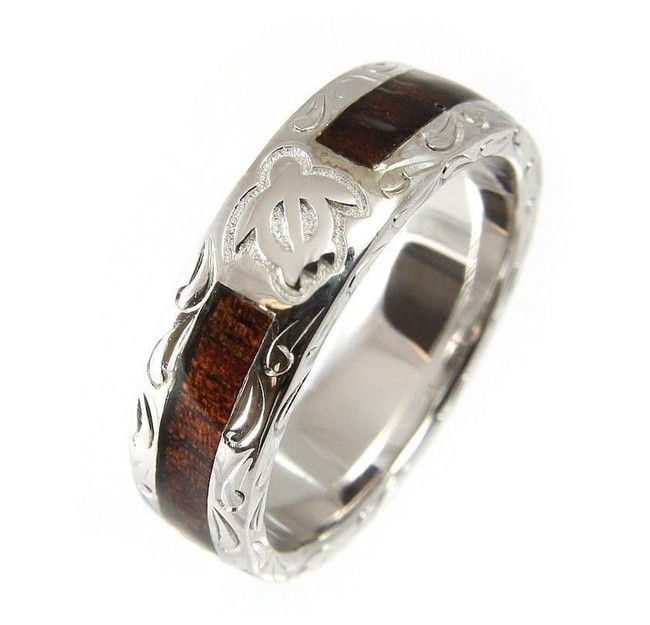 925 Silver Men's Wedding Band with Honu Turtle & Hawaiian Koa Wood by Jewelry Hawaii