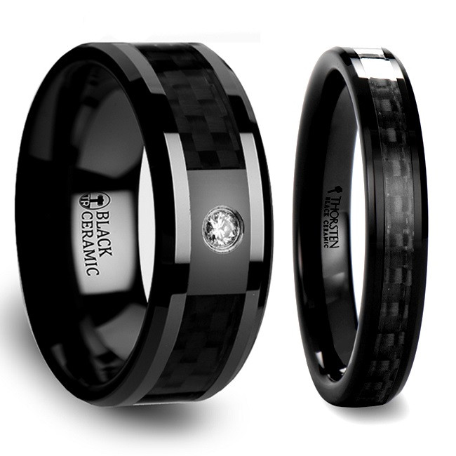 Phaenna Black Carbon Fiber Inlaid Black Ceramic Couple's Matching Wedding Band Set from Vansweden Jewelers