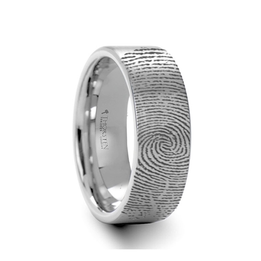 6b788cfab8b1a Arcesilaus Engraved Flat Pipe Cut Tungsten Ring Brushed Ring