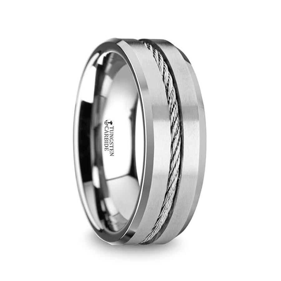 The Eioneus Men S Tungsten Flat Wedding Band With Steel Wire Cable Inlay Beveled Edges From