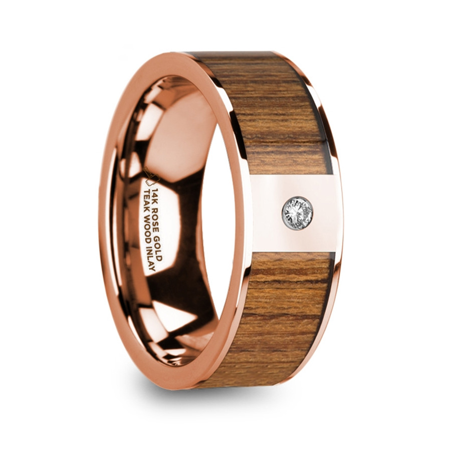 The Asius Men S Polished 14k Rose Gold Teak Wood Inlaid Wedding Band With Diamond From