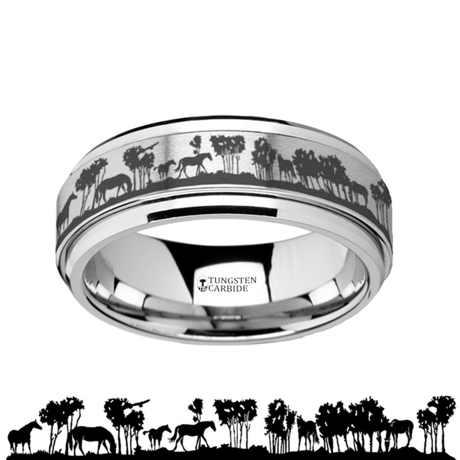 The Chryses Spinning Engraved Wild Horse Scene Tungsten Carbide Spinner Wedding Band from Vansweden Jewelers