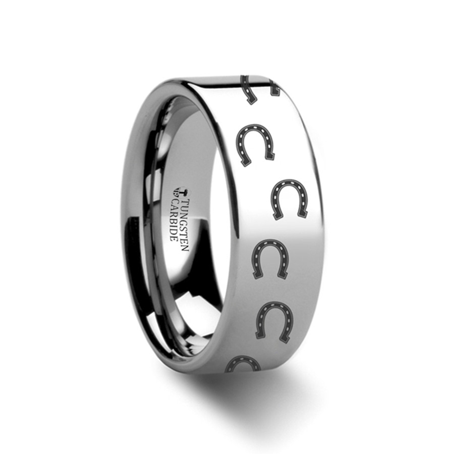 Peisenor Horse Shoe Engraved Flat Tungsten Ring from Vansweden Jewelers
