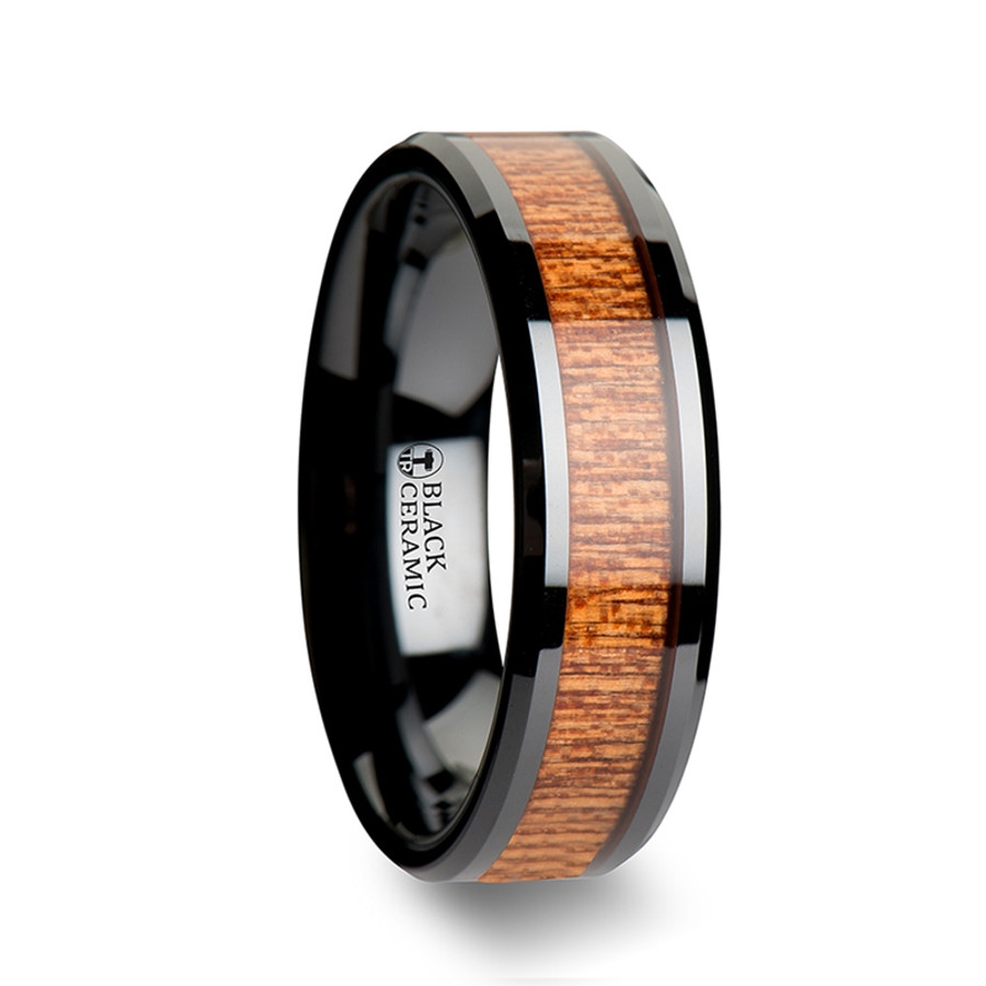 Agapenor Black Ceramic Wedding Band with Polished Bevels and African Sapele Wood Inlay from Vansweden Jewelers