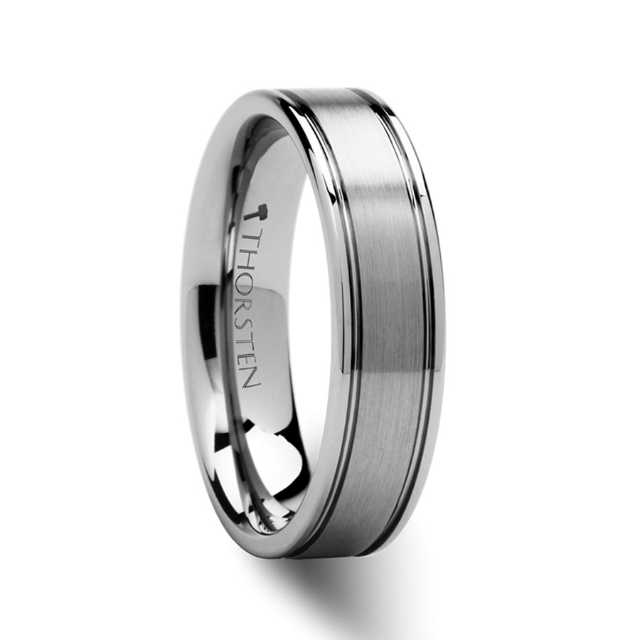 Deiphobus Pipe Cut Brushed Finish Tungsten Carbide Ring from Vansweden Jewelers