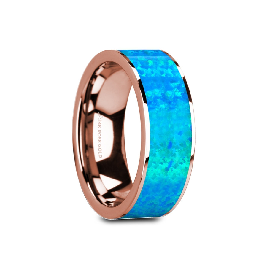 Megapenthes Flat Polished 14K Rose Gold Ring with Blue Opal Inlay from Vansweden Jewelers