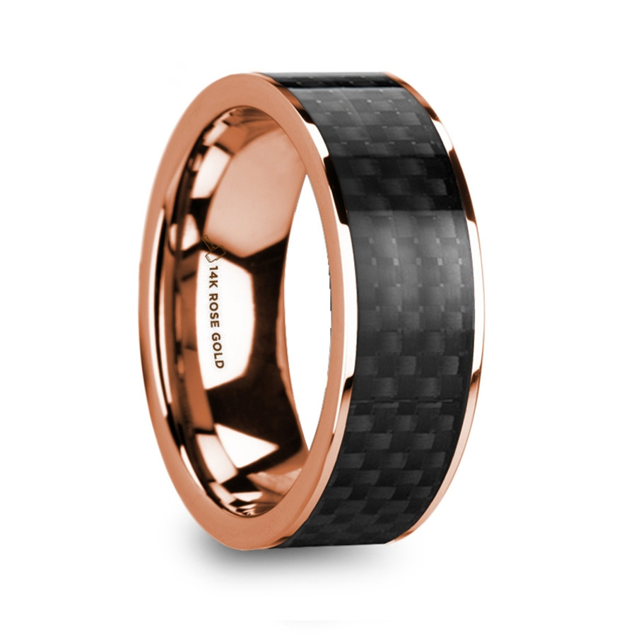 Automedon Polished 14k Rose Gold Men S Wedding Band With Black Carbon Fiber Inlay From Vansweden Jewelers