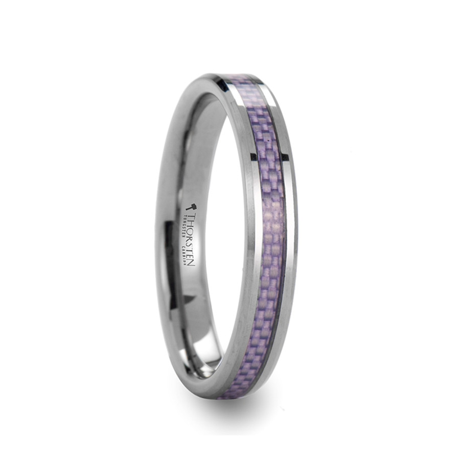 Aethra Beveled Tungsten Carbide Ring with Purple Carbon Fiber Inlay from Vansweden Jewelers