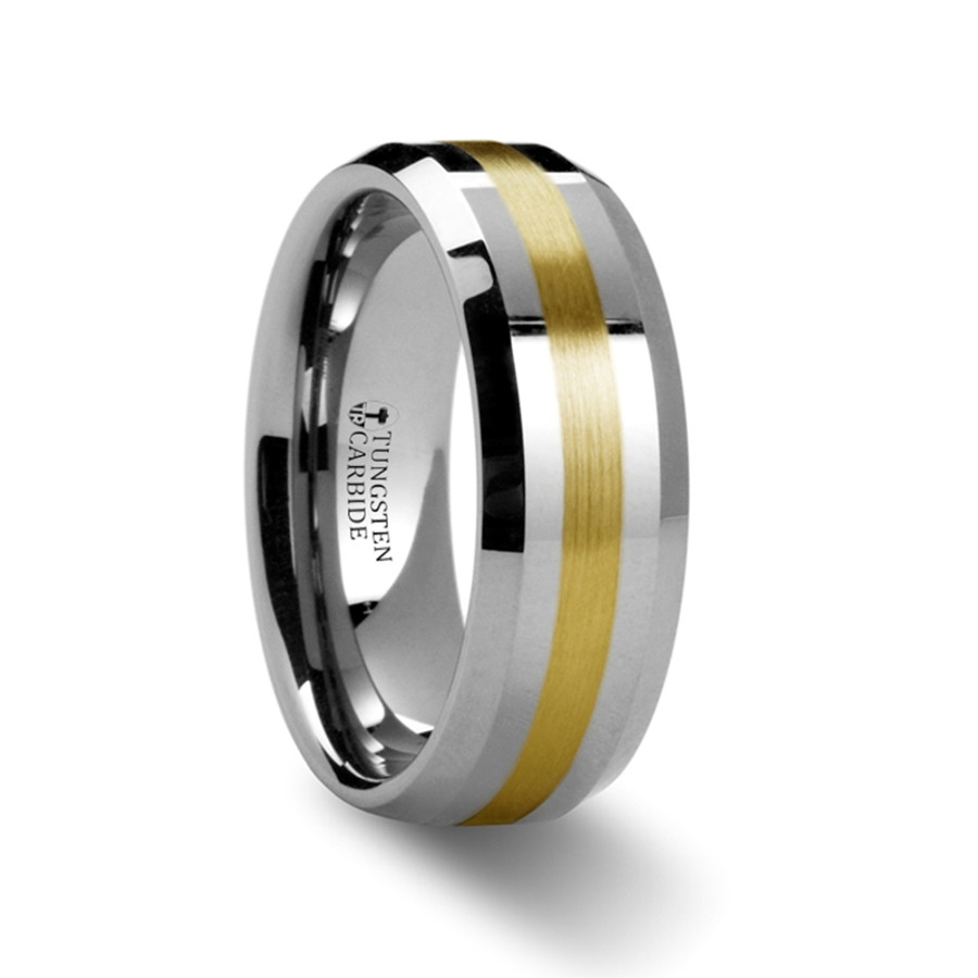 Cragaleus Gold Inlaid Beveled Tungsten Ring from Vansweden Jewelers
