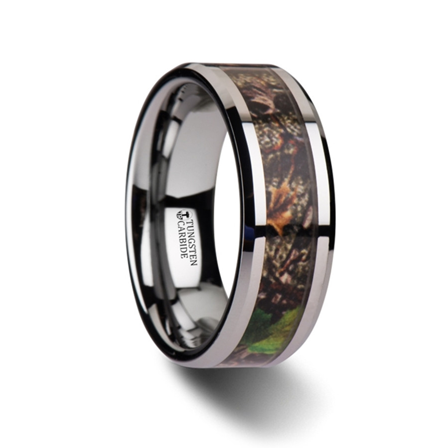 Themiste Realistic Tree Camo Tungsten Carbide Wedding Band with Green Leaves from Vansweden Jewelers