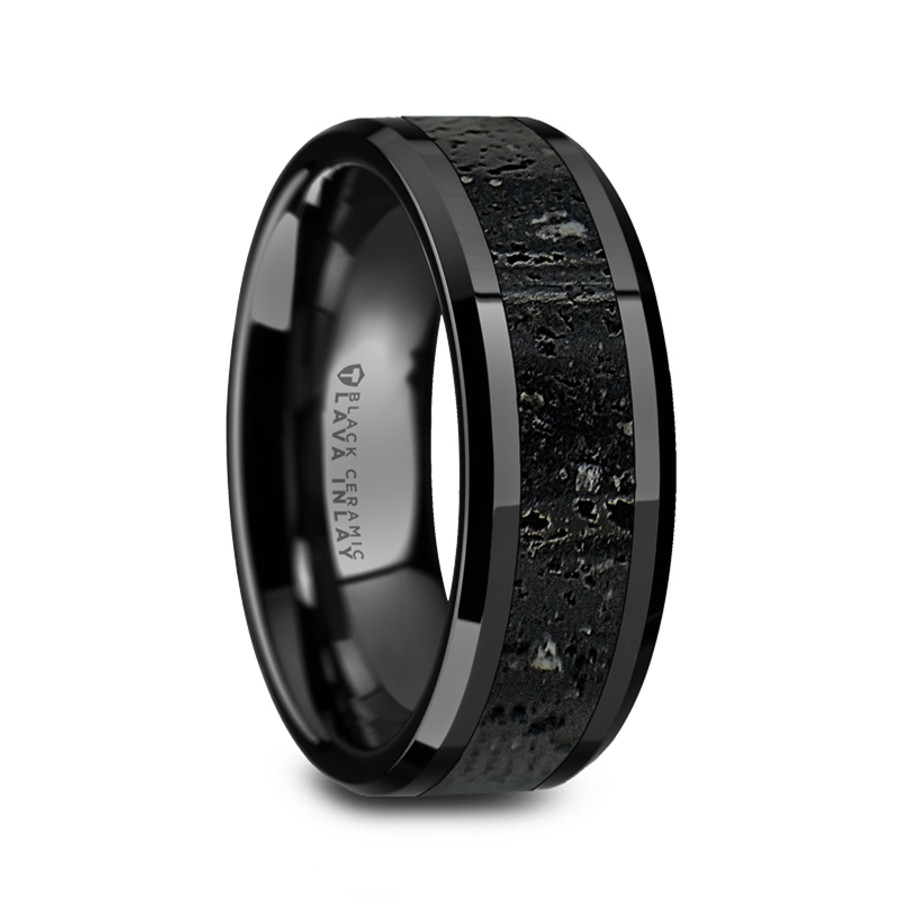 Alcibie Men S Polished Black Ceramic Wedding Band With