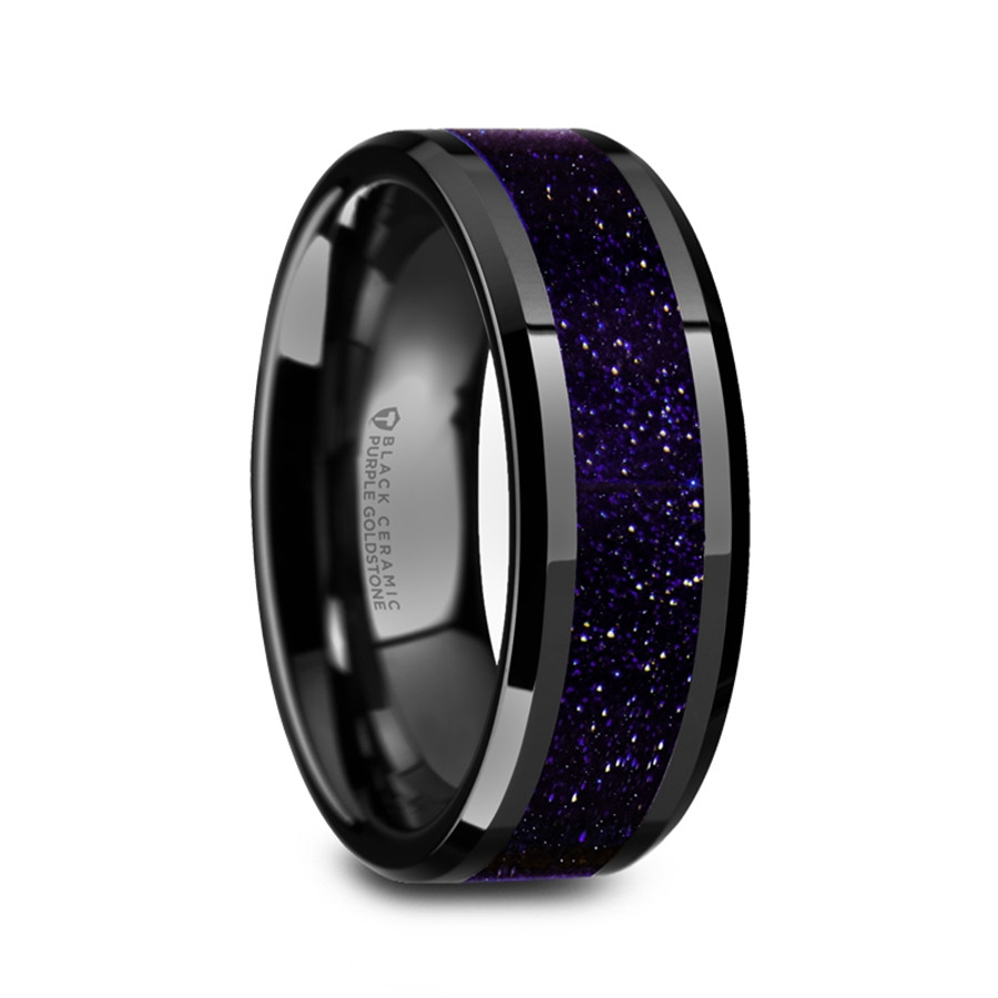 Aergia Black Ceramic Polished Men S Wedding Band With Purple Goldstone Inlay From Vansweden Jewelers